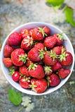 Erdbeeren in der weißen Schüssel lizenzfreie stockfotografie