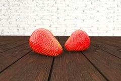 Erdbeeren, die auf Holztisch liegen Abbildung 3D Lizenzfreies Stockbild