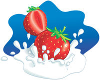 Erdbeeren, die in der Milch spritzen Stockfotos