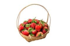Erdbeeren in einem Korb im Garten Lizenzfreie Stockfotos