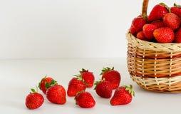 Erdbeeren in einem Weidenkorb auf einem weißen Hintergrund Stockfotografie
