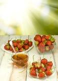 Erdbeeren in einer Platte und in einer Tasse Tee gegen die Sonne Stockfoto