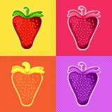 Erdbeeren in einer Pop-Arten-Art Vektor Stockfotos
