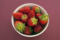 Erdbeeren in einer Schüssel gegen einen festen magentaroten Hintergrund lizenzfreies stockbild