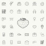 Erdbeeren in Form der Herzikone Ausführlicher Satz Valentinsgrußikonen Erstklassiges Qualitätsgrafikdesignzeichen Ein des collect vektor abbildung