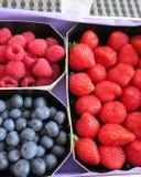 Erdbeeren, Himbeeren und Blaubeeren zusammen Stockfotos