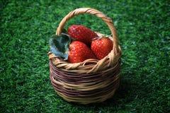 Erdbeeren im kleinen Korb lizenzfreie stockbilder