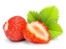 Erdbeeren Makro mit den Blättern getrennt auf Weiß Lizenzfreie Stockfotografie