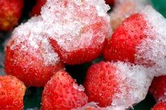 Erdbeeren mit Eis Lizenzfreies Stockfoto