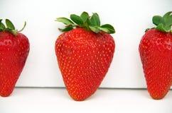 Erdbeeren mit grünen Stämmen Stockfoto