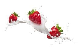 Erdbeeren mit Milchspritzen Lizenzfreie Stockfotos