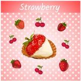 Erdbeeren mit Sahne auf einem rosa Hintergrund lizenzfreie abbildung