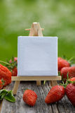 Erdbeeren mit Schild Stockbild