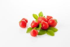Erdbeeren und Blätter Lizenzfreies Stockfoto