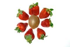 Erdbeeren und eine Kiwi Stockfoto