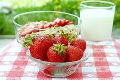 Erdbeeren und Getreide Stockbilder