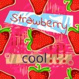 Erdbeeren und kühlen Aufkleber ab Nahtlose vektorbeschaffenheit Verschiedene Varianten der Farbe sind möglich Stockfotos