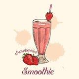 Erdbeeresmoothie im Glas mit Stroh Vektor-Illustration, Grafikdesign Stock Abbildung