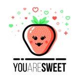 Erdbeerformikone für Heilig-Valentine Day-Grußkarte Flache Linie Art Lizenzfreie Stockfotografie
