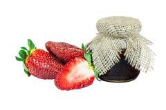 Erdbeerfrüchte und -stau Lizenzfreie Stockfotografie