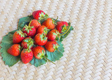 Erdbeerfrische Beeren und -blätter Stockfotos