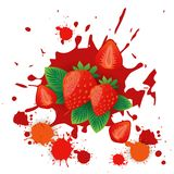 Erdbeerfrucht-Logo Watercolor Splash Design Fresh-Naturkost Stockfotos