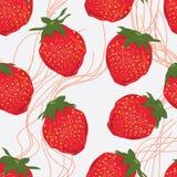 Erdbeerfruchtlinie nahtloses Muster Lizenzfreie Stockbilder