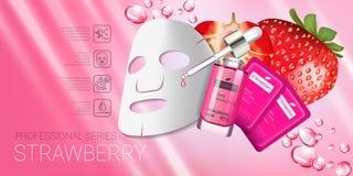 Erdbeerhautpflege-Maskenanzeigen Vector Illustration mit der Erdbeere, die Maske und Serum glatt macht stock abbildung
