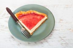 Erdbeerkäsekuchen - selbst gemachtes Rezept Lizenzfreies Stockfoto