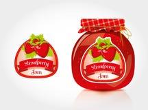 Erdbeermarmeladenaufkleber mit Glas Lizenzfreies Stockfoto