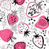Erdbeermuster auf weißem Hintergrund und abstraktem Hintergrund vektor abbildung