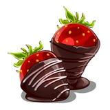 Erdbeernachtisch in der Schokolade Köstliche romantische Überraschung für Liebhaber Vektor in der Karikaturart lokalisiert auf We Lizenzfreie Stockfotografie