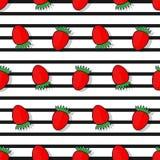 Erdbeernahtloses Muster in einer flachen Art Lizenzfreies Stockbild