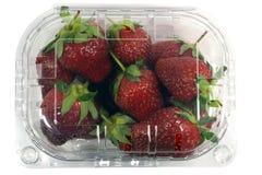 Erdbeerpaket lokalisiert auf einem weißen Hintergrund mit einem Beschneidungspfad Ansicht von der Oberseite Lizenzfreie Stockfotografie