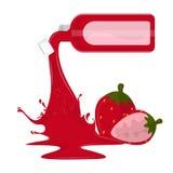 Erdbeersaftflasche lizenzfreie abbildung
