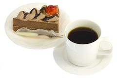 Erdbeershortcake und -kaffee Lizenzfreie Stockbilder
