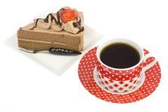 Erdbeershortcake und -kaffee Stockfotos