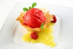 Erdbeersorbet Stockbild