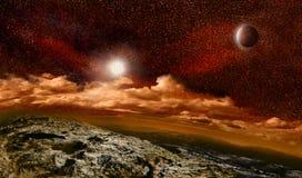 Erde ähnlich im roten Raum Stockfotografie