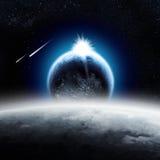 Erde über dem Mond lizenzfreie abbildung