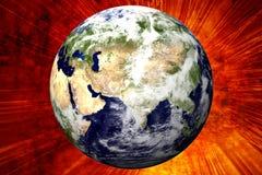 Erde 3D auf Feuer Lizenzfreie Stockbilder
