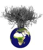 Erde 3d und Baum lizenzfreie abbildung