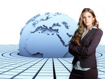 Erde 3d und Geschäftsfrau Lizenzfreies Stockfoto