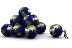 Erde 3d und Mann stock abbildung