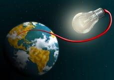 Erde angeschlossen an glänzende elektrische Lampe Stockfoto
