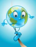 Erde auf einem dünnen Seil Stockbild