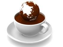 Erde auf Tasse Kaffee Stockfoto