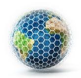 Erde bedeckt mit sechseckigen Fliesen Abbildung 3D Lizenzfreie Stockbilder