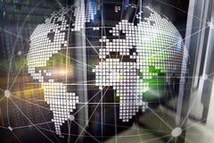 Erde 3D als Telekommunikation und Internet-Technologiekonzept stockfoto