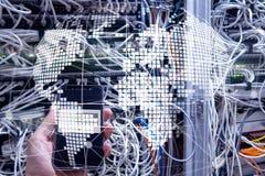Erde 3D als Telekommunikation und Internet-Technologiekonzept lizenzfreies stockfoto
